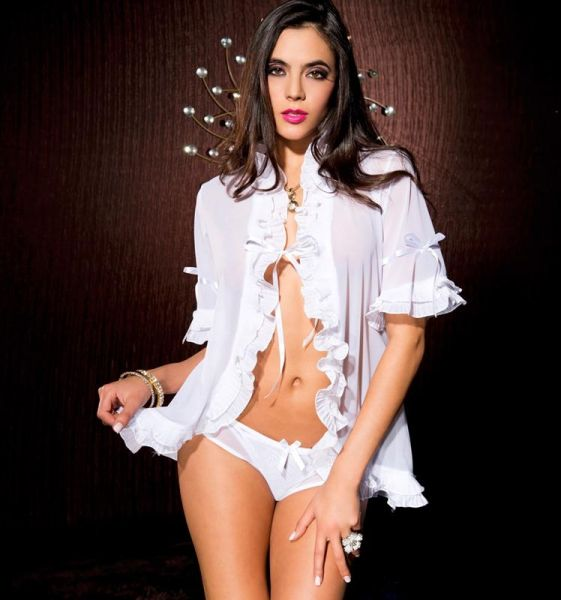 Ruffle robe with matching g-string